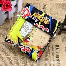 Collectible colorful wallet of Naruto Uzumaki & Sasuke Uchiha w/ button