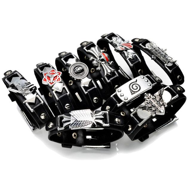 Naruto's Konoha symbol black bracelet / wristband