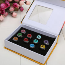 Wonderful set of 10 Naruto rings with box