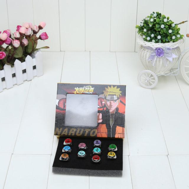 Wonderful set of 10 Naruto rings with box