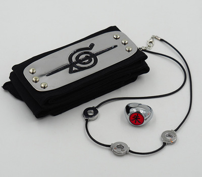 Great 3pcs/set incl. Naruto's headband, ring and pendant/collar
