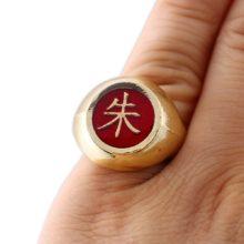Naruto's symbols gold coating rings