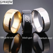 Classic Naruto's Konoha symbol stainless steel ring in 3 colors