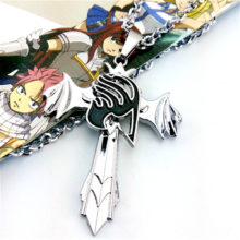 Fairy Tail Silver Cross / Wing symbol Pendant Necklace