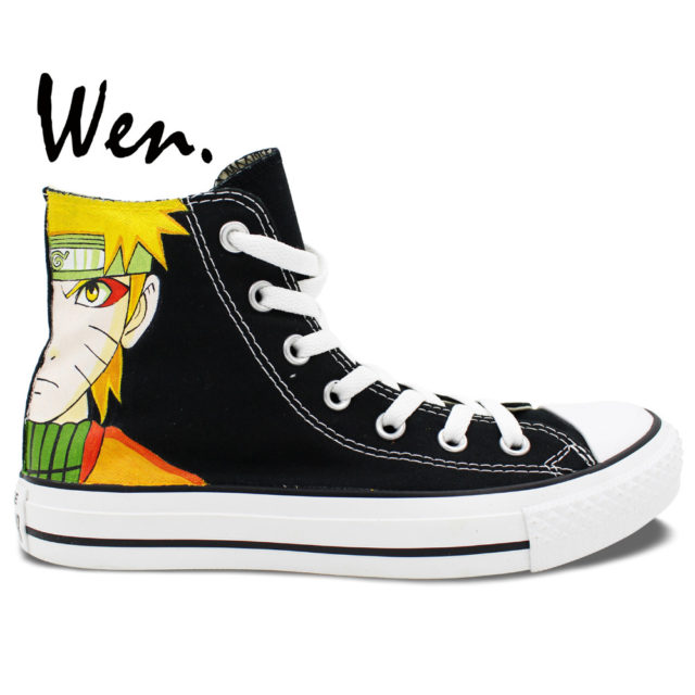 Superb black Converse-style Naruto sneakers / shoes