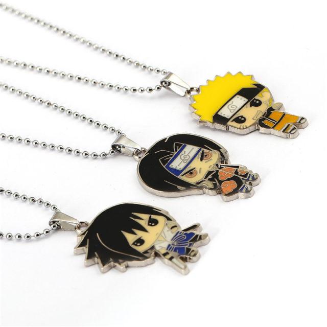 Naruto, Sasuke & Kakashi Metal Pendant Necklaces